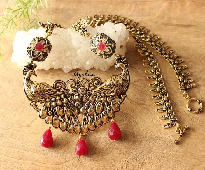 Antique Peacock Necklace