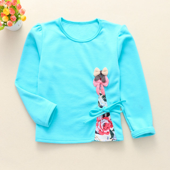 Bow Applique Full Sleeves Top – Blue