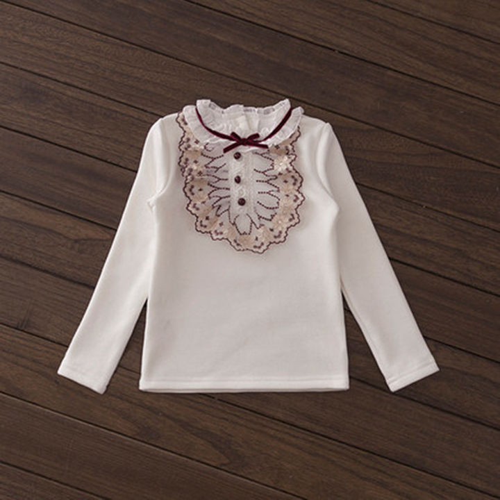 White Applique Full Sleeves Solid Top