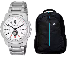 Timer stylish Combo of Watch and Hp laptop bag